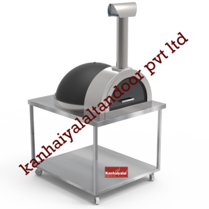 Matt Black Igloo Pizza Oven with Trolley