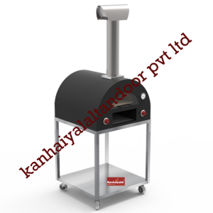 Matt Black Pizza Oven with Trolley